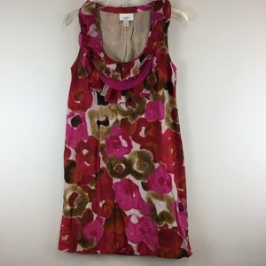 Loft White red and pink floral short sleeve dress